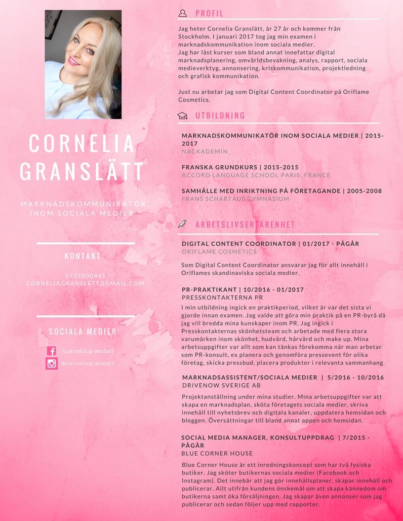Cornelia Granslätt CV